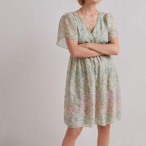 Anthropologie trellis embroidered mini dress